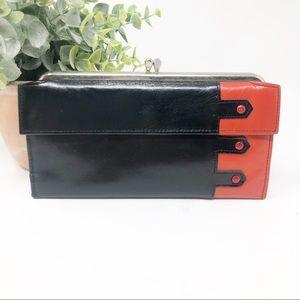 Vintage Rolfs Art Deco Red & Black Leather Wallet